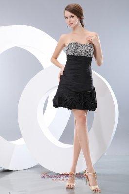 Mini-length Black Homecoming Dress Sweetheart Beaded