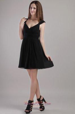 V-neck Black Mini-length Chiffon Bridesmaid Little Black Dress