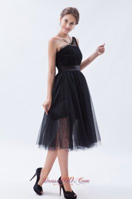 Attractive Bridesmaid Dress Tulle Tea-length One Shoulder