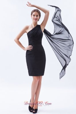 Sheath One Shoulder Evening Dress Chiffon Ruch