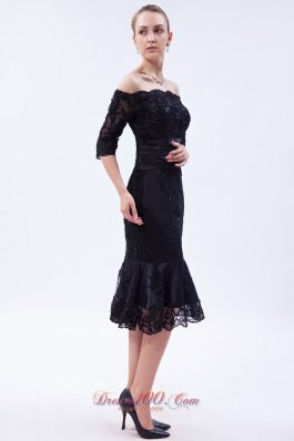 Tea-length Mother Dress Off the Shoulder Lace Beading