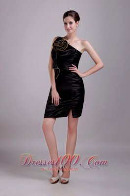 Floral One-shoulder Mini-length Satin Prom Gown Dress