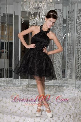 Halter Organza Beading and Ruch Mini-length Prom Gown