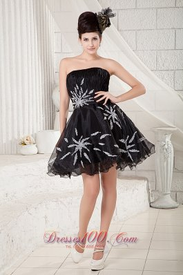 Printed Flowers Organza Evening Dress Mini-length