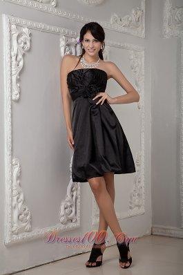 Inexpensive Strapless Taffeta Ruchings Knee-length Bridesmaid Dress