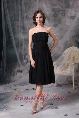 Soft Strapless Little Black Dress Tea-length Chiffon Ruch