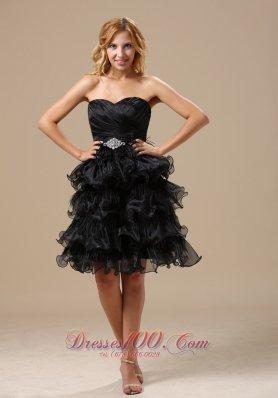 Ruffles Knee-length Organza A-line Little Black Dress