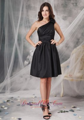 One Shoulder Short Form Fitting Dress Ruched Mini-length