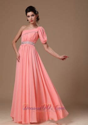 Attractive One Shoulder Chiffon Watermelon Prom Gowns