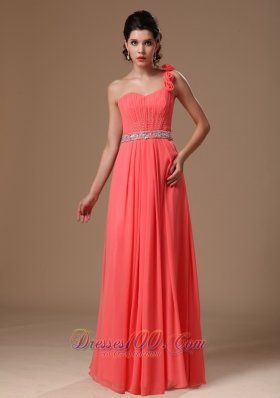 Floral One Shoulder Watermelon Beaded Chiffon Maxi Gowns