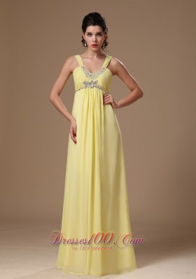 Light Yellow Straps Beaded Chiffon Prom Graduation Dress