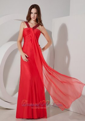 Red Straps Keyhole Opening Beaded Chiffon Prom Dress