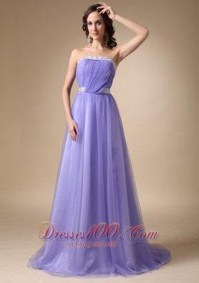Lilac Strapless Taffeta and Tulle Prom Graduation Dress