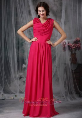 Ruched Prom Gown Coral Red V-neck Chiffon