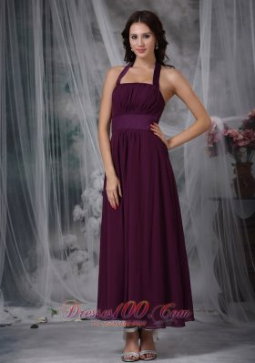 Dark Purple Prom Gowns Halter Ankle-length Chiffon Ruch