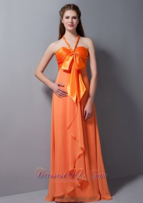 Orange Halter Ruch Bridesmaid Dress Taffeta and Chiffon