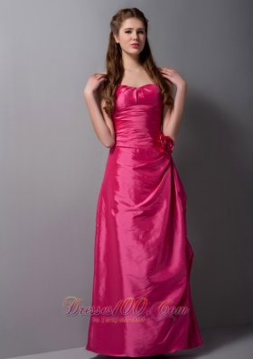 Hot Pink Sweetheart Bridesmaid Dress Floor-length Taffeta