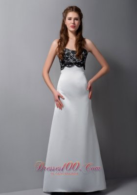 Gray Strapless Lace Bridesmaid Maxi Dress Floor-length Satin