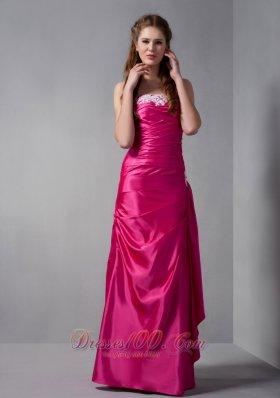 Hot Pink Column Taffeta Strapless Appliques Bridesmaid Dress