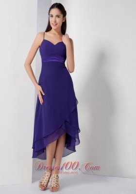Purple Brideamaid Dress Spaghetti Straps High-low Chiffon