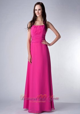 Hot Pink Empire Square Bridesmaid Dress Chiffon Ruch