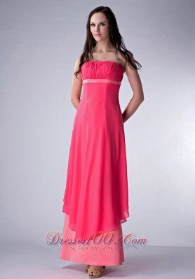 Coral Red and Watermelon Bridesmaid Dress Ruch Ankle-length