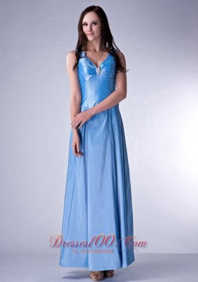 Baby Blue Cloumn V-neck Bridesmaid Dress Beading Ankle-length