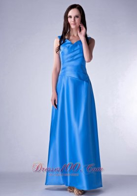 Sky Blue Bridesmaid Dress V-neck Taffeta Ruch Ankle-length