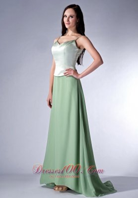 Apple Green Cloumn Spaghetti Straps Bridesmaid Dress Chiffon