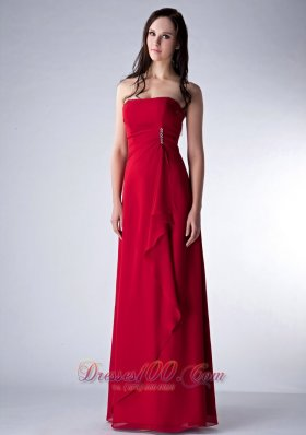 Wine Red Column Strapless Bridesmaid Dress Chiffon