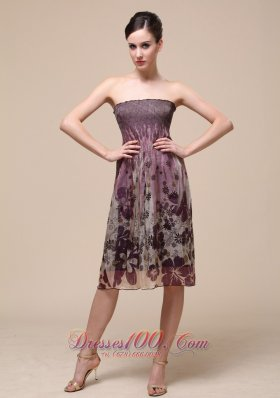 Colorful Bridesmaid Dress Strapless Knee-length Printing