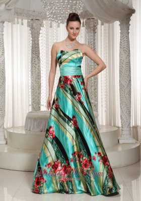Colorful Printing Sweetheart A-line Prom Celebrity Dress