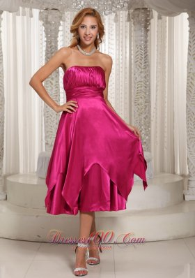 Hot Pink Ruched Bodice Tea-length Mother Dress