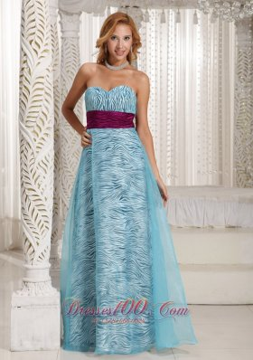Aque Blue Zebra A-line Sweethart Long Celebrity Dress