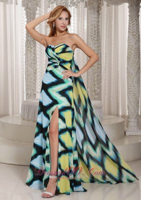 Multi-color Printing Chiffon High Slit Sweetheart Prom Evening Dress