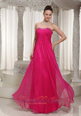 Hot Pink Vintage Homecoming Maxi Dress Strapless Beading