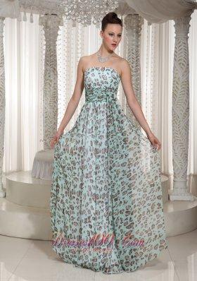 Multi-color Empire Leopard Strapless Prom Dress
