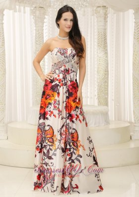 Printing Strapless Evening Dress Beaded Bust