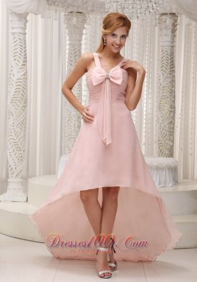 Light Pink High-low Prom Gown Bowknot Beading Chiffon