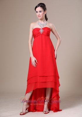 Red Prom Dress High-low Ruched Beaded