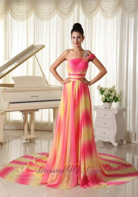 Ombre Color Chiffon Beaded One Shoulder Prom Maxi Dress