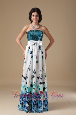 Prom Dress Multi-color Empire Strapless Pringting Sequin