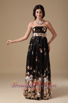 Multi-color Empire Prom Gown Floor-length Printing