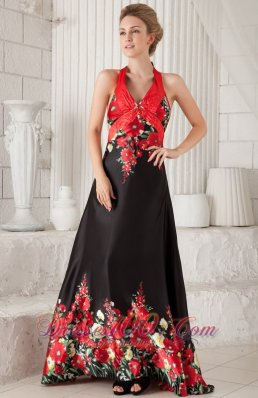 Red and Black Evening Dress Princess Halter Printing