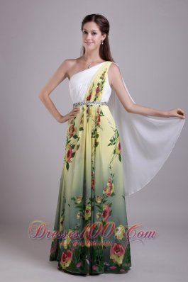 Exquisite Empire Party Dress One Shoulder Print Beading