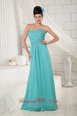 Turquoise Bridesmaid Dress Empire Sweetheart Chiffon Ruch