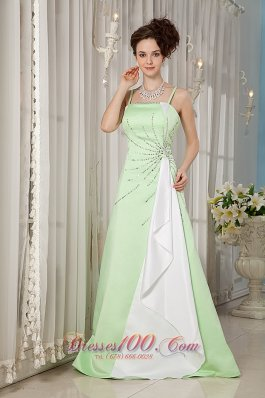 Yellow Green Evening Dress Straps Satin Beading