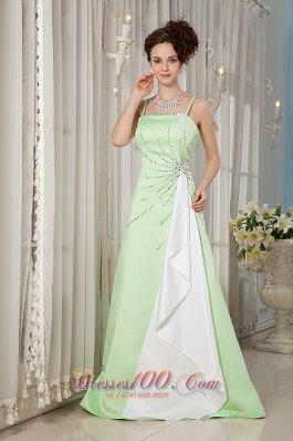 Yellow Green Evening Dress Straps Satin Beading