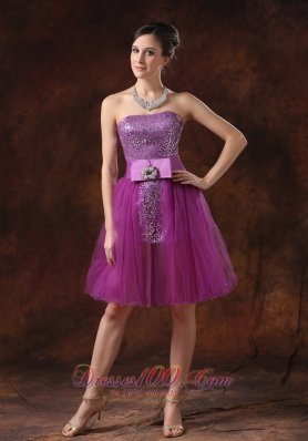 Fuchsia Prom Dress Paillette Strapless Sheath Ribbons