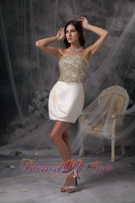 Champagne Evening Dress Strapless Satin Beading and Ruch